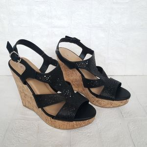 Delicious Black Laser Cut Wedges NWT